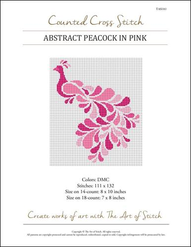 click here to view larger image of Abstract Peacock in Pink (chart)
