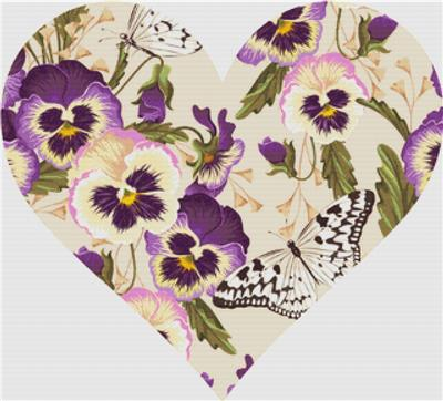 click here to view larger image of Vintage Pansies - Heart (chart)