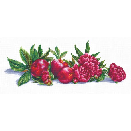 click here to view larger image of Apples and Peonies - Andriana (counted cross stitch kit)