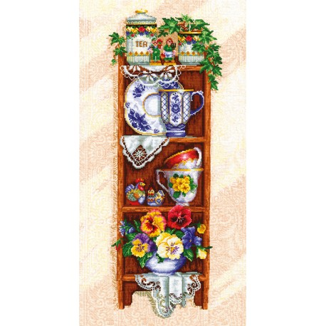 click here to view larger image of Shelf w/Cups (counted cross stitch kit)