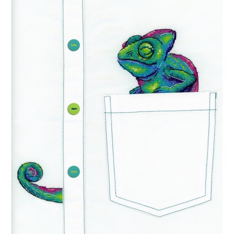click here to view larger image of Curious Chameleon (counted cross stitch kit)