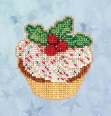 click here to view larger image of Holly Cupcake (2020) (counted cross stitch kit)