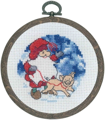 click here to view larger image of Santa Claus w/Pig (counted cross stitch kit)
