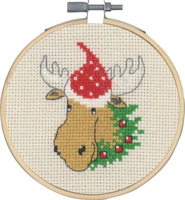 click here to view larger image of Moose w/Hat (counted cross stitch kit)