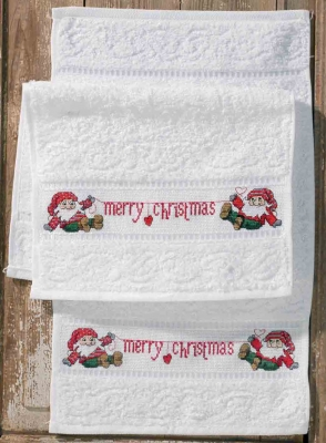 click here to view larger image of Merry Christmas Towels (2 pieces) (counted cross stitch kit)