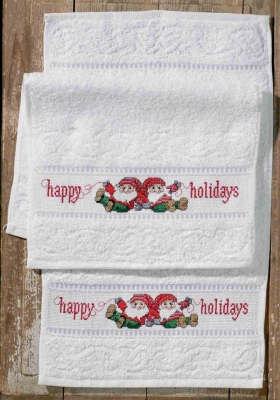 click here to view larger image of Happy Holidays Towels (2 pieces) (counted cross stitch kit)