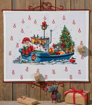 click here to view larger image of Santa in Boat Advent Calendar (counted cross stitch kit)