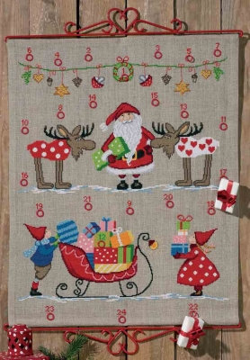 click here to view larger image of Santa Sleigh Advent Calendar (counted cross stitch kit)