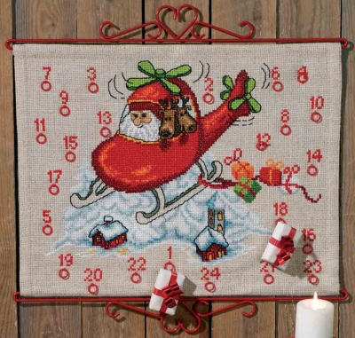 click here to view larger image of Santa Helicopter Advent Calendar (counted cross stitch kit)
