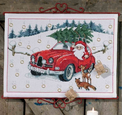 click here to view larger image of Santa in Car Advent Calendar (counted cross stitch kit)