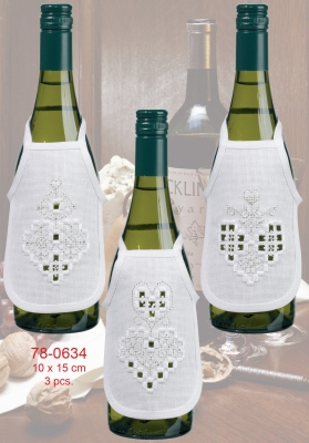 click here to view larger image of Hardanger Heart Silver Bottle Aprons (3pcs) (counted cross stitch kit)