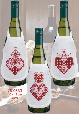 click here to view larger image of Hardanger Heart Bottle Aprons (3pcs) (counted cross stitch kit)