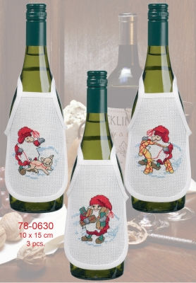 click here to view larger image of Elf Bottle Aprons (3pcs) (counted cross stitch kit)