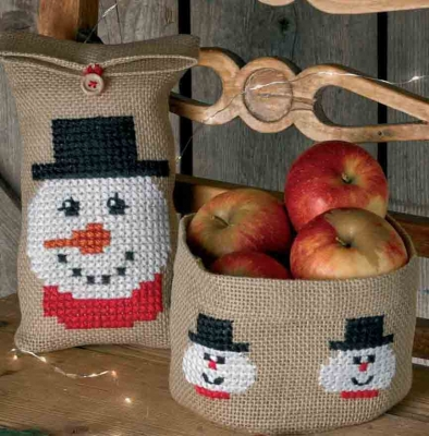 click here to view larger image of Snowman Gift Bag (left) (counted cross stitch kit)