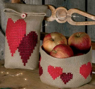 click here to view larger image of Heart Gift Bag (left) (counted cross stitch kit)