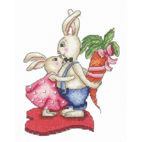 click here to view larger image of Bunnies - Love and Carrots (counted cross stitch kit)