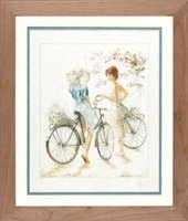 click here to view larger image of Girl on Bicycle (counted cross stitch kit)