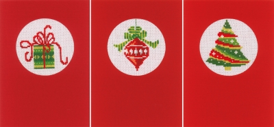 click here to view larger image of Christmas Greeting Cards (set of 3) (counted cross stitch kit)
