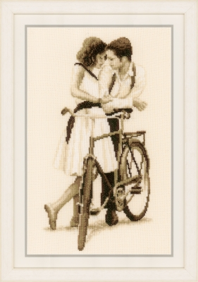 click here to view larger image of Couple with Bicycle (counted cross stitch kit)