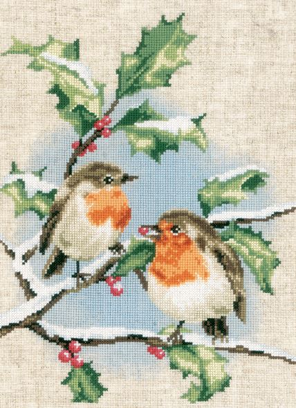 click here to view larger image of Winter Robins (counted cross stitch kit)
