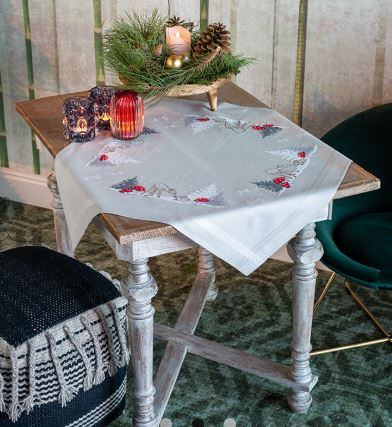 click here to view larger image of Winter Christmas Landscape Table Cloth (printed linen)