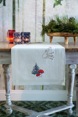 click here to view larger image of Winter Christmas Landscape Table Runner (printed linen)