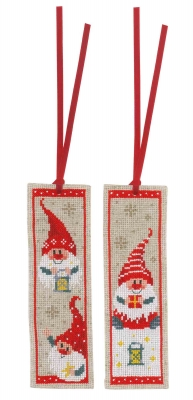 click here to view larger image of Christmas Gnomes Bookmark (set of 2) (counted cross stitch kit)