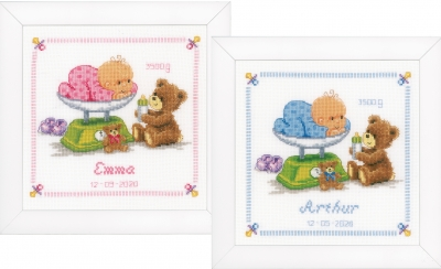 click here to view larger image of Baby and Bear Birth Announcement (counted cross stitch kit)
