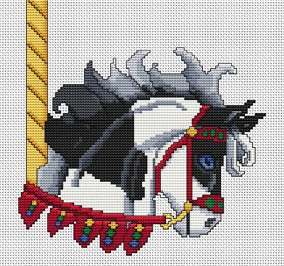 click here to view larger image of Black Paint Carousel Horse Head (chart)