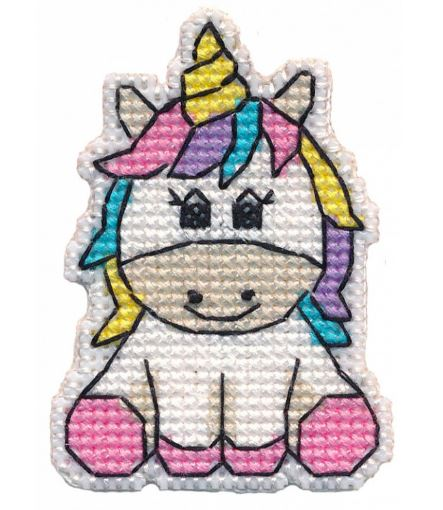 click here to view larger image of Badge - Unicorn (counted cross stitch kit)