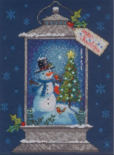 click here to view larger image of Snowman Lantern (counted cross stitch kit)