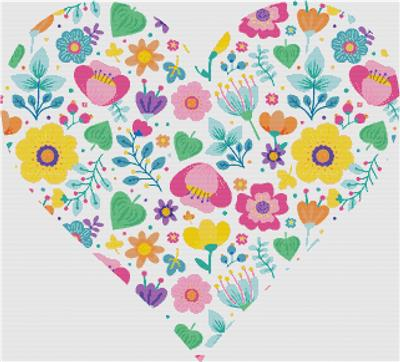 click here to view larger image of Cute Ditsy Floral Heart (chart)