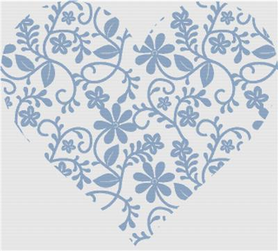 click here to view larger image of Blue Floral Lace Heart (chart)