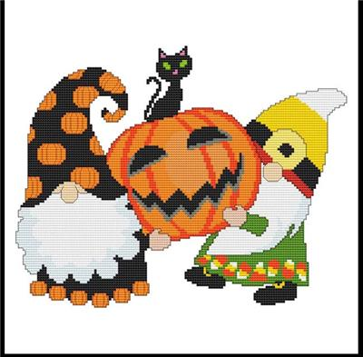 click here to view larger image of Halloween Gnomes - Cat on Pumpkin (chart)