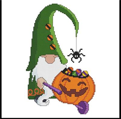 click here to view larger image of Halloween Gnomes - Pumpkin Wheelbarrow (chart)