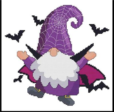 click here to view larger image of Halloween Gnomes - Bat (chart)