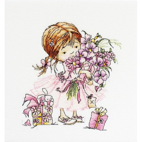 click here to view larger image of Girl with a Bouquet (counted cross stitch kit)