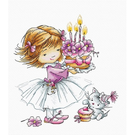 click here to view larger image of Girl with a Kitten and a Cake (counted cross stitch kit)