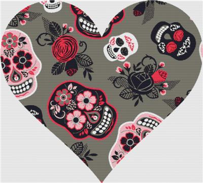 click here to view larger image of Pink and Grey Sugar Skull Heart (chart)