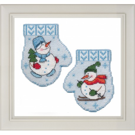 click here to view larger image of Mitten Snowman (counted cross stitch kit)