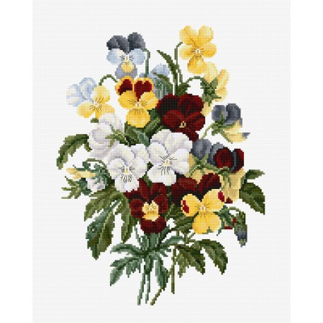 click here to view larger image of Bouquet of Pansies (counted cross stitch kit)