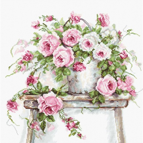 click here to view larger image of Roses on a Stool (counted cross stitch kit)