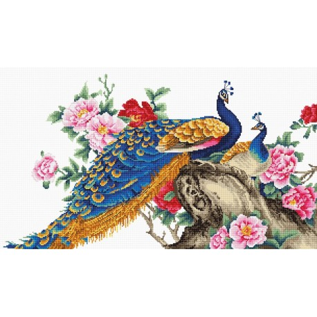 click here to view larger image of Two Peacocks (counted cross stitch kit)