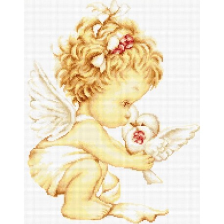 click here to view larger image of Angel with Pigeons (counted cross stitch kit)