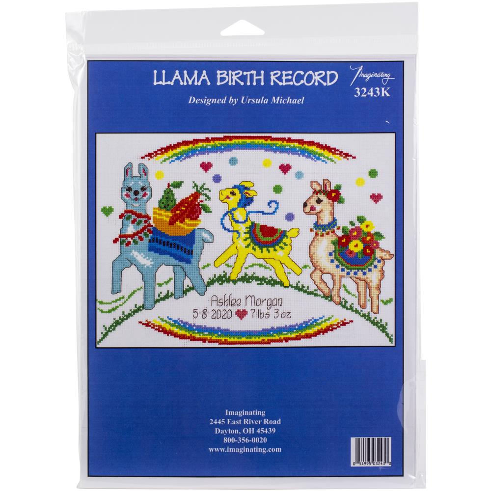 click here to view larger image of Llama Birth Record - Kit (counted cross stitch kit)