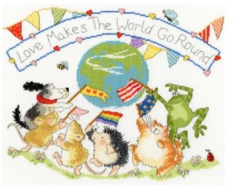 click here to view larger image of Love Makes The World Go Round (Margaret Sherry) (counted cross stitch kit)