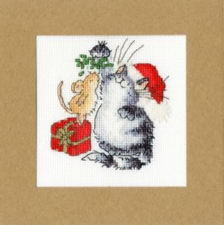 click here to view larger image of Under the Mistletoe - Christmas Cards (Margaret Sherry) (counted cross stitch kit)