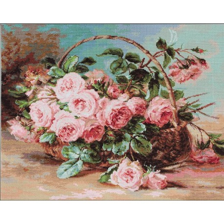click here to view larger image of Basket of Roses (counted cross stitch kit)