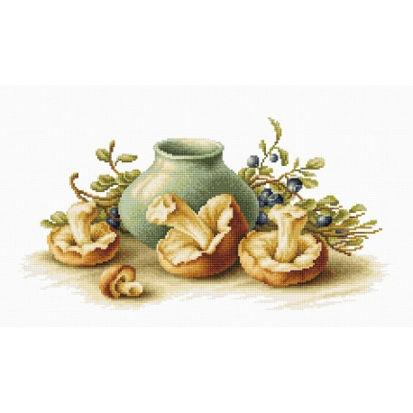 click here to view larger image of Still Life with Mushrooms (counted cross stitch kit)