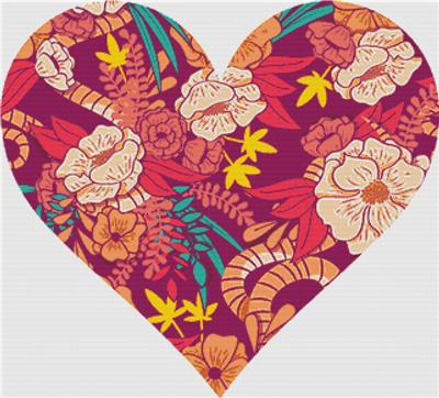 click here to view larger image of Floral Jungle Heart (chart)